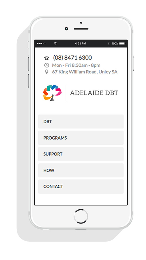 Mobile view for Adelaide DBT