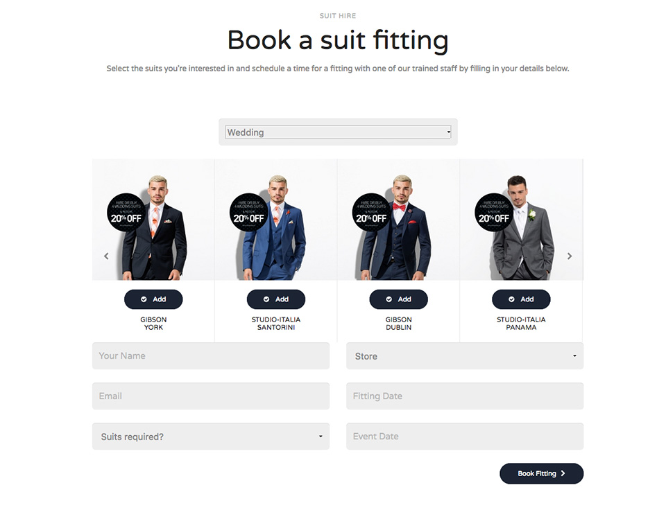 Book suit fitting with Google Calender