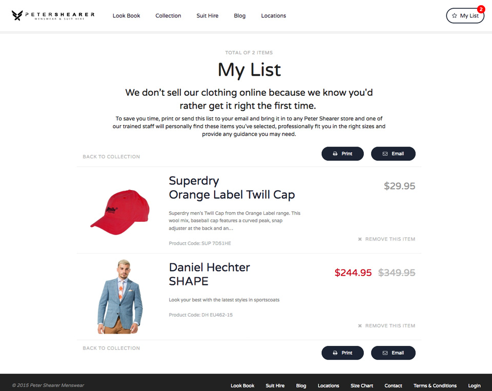 Manage liked items in 'wishlist' cart